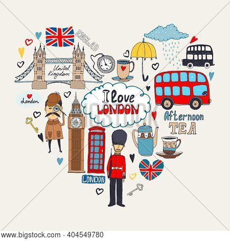 London In My Heart Or I Love London Card Design With Landmark Icons Arranged In A Heart Shape Includ
