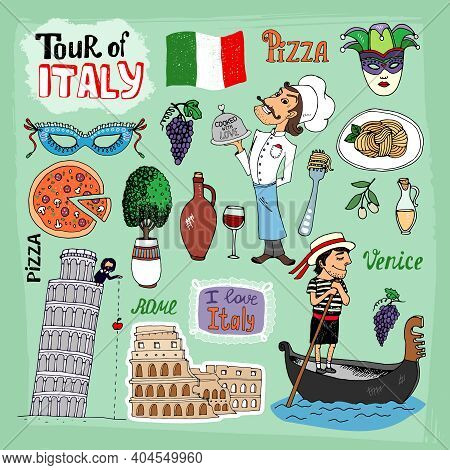 Tour Of Italy Illustration With Landmarks Including The Leaning Tower Of Pisa  Venice Gondola  Colos