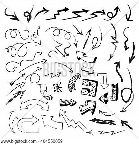 Set Of Hand Drawn Arrows For Designs. Arrows For Pen Markers Banner. Hand Drawn Arrows Set. Sketchy