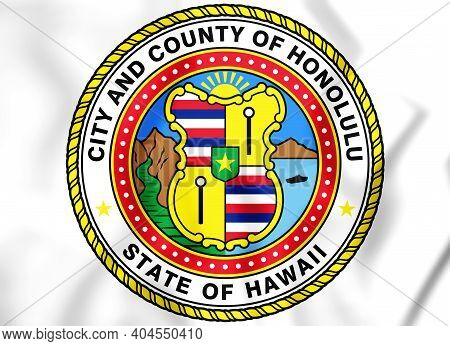 3d Seal Of Honolulu (hawaii), Usa. 3d Illustration.