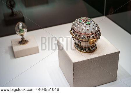 Saint Petersburg, Russia - Ca. December 2017: White Agate Faberge Easter Egg  Called Renaissance Egg
