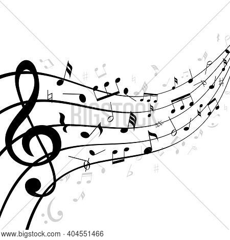 Music Notes On A Stave Or Staff Consisting Of Five Lines Curving Into The Distance With Diminishing