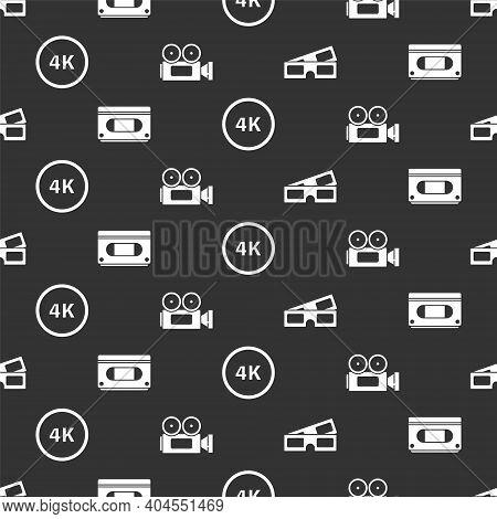 Set 3d Cinema Glasses, Vhs Video Cassette Tape, 4k Ultra Hd And Cinema Camera On Seamless Pattern. V