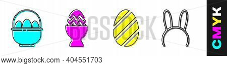 Set Basket With Easter Eggs, Easter Egg On A Stand, Easter Egg And Mask With Long Bunny Ears Icon. V