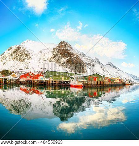 Spectacular Morning View Of Small Fishing Village Ramberg At Sunrise. Travel Destination On Lofotens