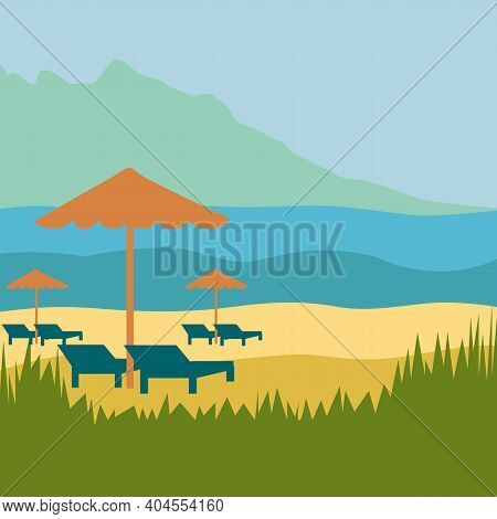 Landscape Of The Sea, Mountains, Sand And Sun Loungers