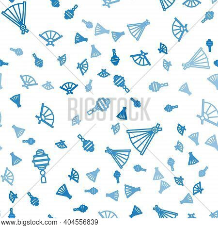 Set Line Chinese Paper Lantern, Paper Chinese Folding Fan And Paper Chinese Folding Fan On Seamless