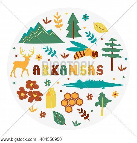 Usa Collection. Vector Illustration Of Arkansas Theme. State Symbols - Round Shape