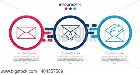 Set Line Envelope, Envelope With Star And Outgoing Mail. Business Infographic Template. Vector