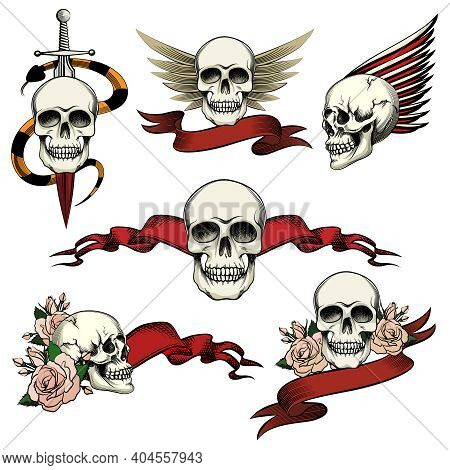 Set Of Commemorative Skull Icons With Roses  Blank Ribbon Banners  Wings And A Sword An Snake To Hon