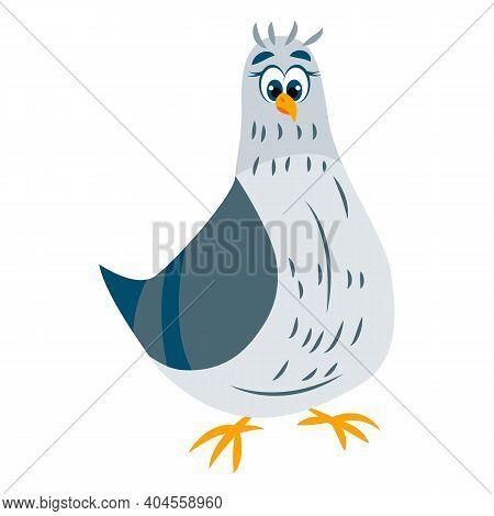 Pigeon Bird. Green And Gray Dove Staying. Blue Eyes. Yellow Beak And Legs. Flat Cartoon Character De
