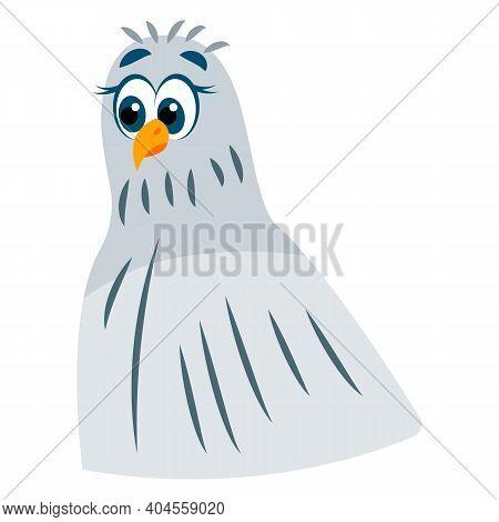 Pigeon Bird Head. Green And Gray Dove. Blue Eyes. Yellow Beak And Legs. Flat Cartoon Character Desig