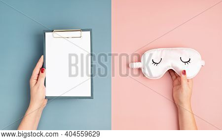 Sleeping Mask And Sleep Tracker Journal On Pink Pastel Background. Minimal Concept Of Rest, Quality