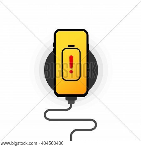 Battery Charge Icon. Wireless Charger Illustration. Smartphone On Wireless Charging. Flat Wireless P
