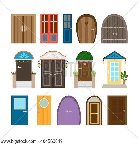 Collection Of House Doors. Wooden And Architecture Doorway, Entrance And Front Frame, Exit And Enter