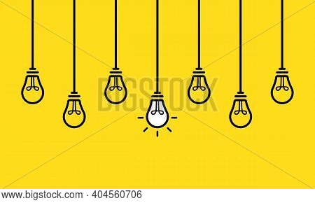 A Set Of Hanging Light Bulbs With One Glowing. Fashionable Flat Vector Light Bulb Icons With The Con
