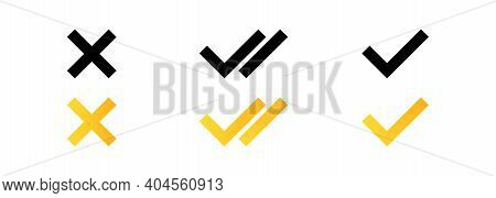 Set Of Check Mark Icons. Double Checkmark. Check And Cross Icon. Yes And No Symbol. Vector Eps 10. I