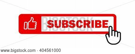 Subscribe Icon With Cursor. Bell Button And Hand Cursor. Red Button Subscribe To Channel, Blog. Soci