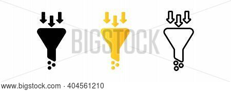 Set Of Filtering Funnel Icons. Sales Icon. Funnel, Filter Symbol. Vector Eps 10. Isolated On White B