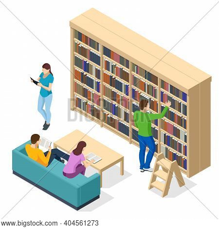 Isometric Bookshelves In The Library. Books In Public Library. Learning And Education Concept. Peopl