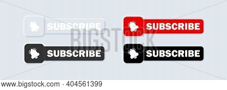 Set Of Subscribe With Cursor. Bell Button And Hand Cursor. Red Button Subscribe To Channel, Blog. So