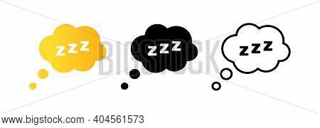 Set Of Sleep Icons. Sleepy Zzz Black Talk Bubble Icon. Sleep Icon. Sleep, Dream, Relax, Rest, Insomn