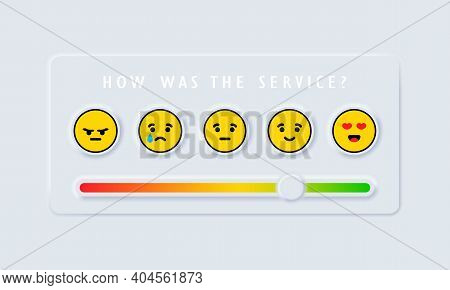 Feedback Emoji Slider. Reviews Or Rating Scale With Emoji Representing Different Emotions. Level Of