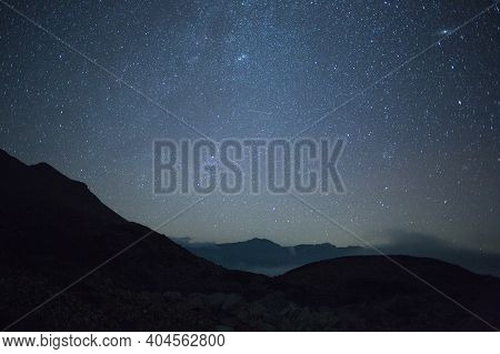 Night Mountain Landscape In Reserve. Summer Night In Northern Hemisphere In Mountains. Milky Way In