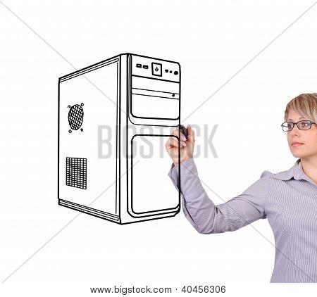 Woman Drawing Computer