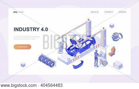 Car Factory Concept. Automobile Plant. Automotive Assembly Line. Car Manufacturing Process. Conveyor