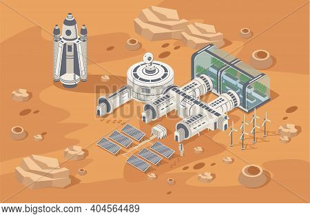 Mars Colonization Concept. Habitable Station. Biological Terraforming, Adapting Humans On Mars. Astr