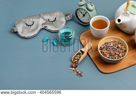 Classic Alarm Clock, Sleeping Mask, Tea Pot On Blue Pastel Background. Minimal Concept Of Rest, Qual