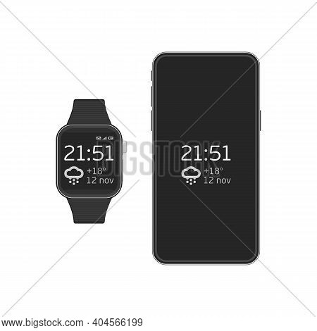 Smart Watch And Smart Phone Illustration. Vector Illustration Of Digital Watches And Mobile Phone Co