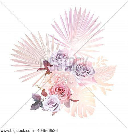 Trendy Dried And Colored Tropical Vector Bouquet. Wedding Blush Pink, Mauve Purple Rose, Hydrangea,