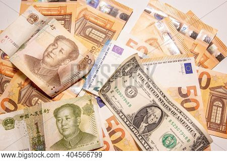 Fifty Euro Money Banknotes Background Texture,mao Zedong Portrait On 1 Chinese Paper Currency Yuan R