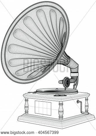 Old Antique Vintage Gramophone Vector. Illustration Isolated On White Background. A Vector Illustrat