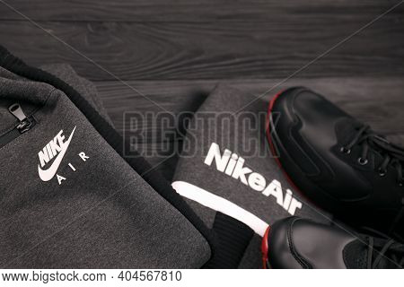 Kharkov, Ukraine - December 20, 2020: Nike Brand Clothes And Shoes Sportwear Kit. Nike Is American M