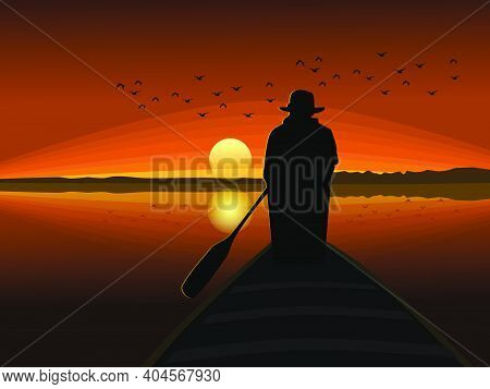 A Silhouette Of A Man In A Hat Rowing A Small Boat With The Sun In The Background