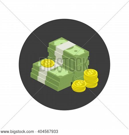 Big Stacked Pile Of Cash Icon. Hundreds Of Dollars. Heap Of Cash, American Dollars, Pack, Parcel, Ba