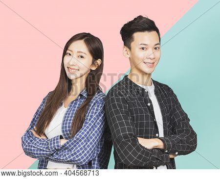 Happy Asian Young Couple Together Smiling Background