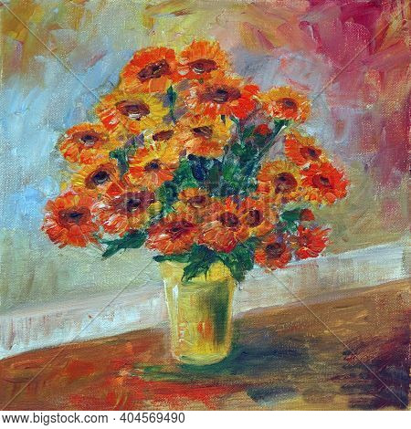 Bouquet Of Marigold Flowers In A Yellow Vase On A Colorful Background, Oil Painting