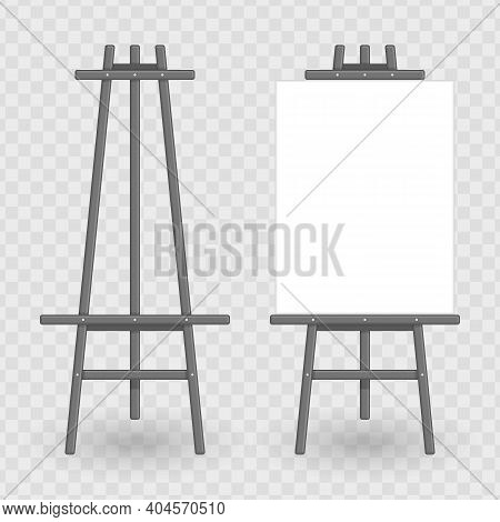 Easel Template. Vector Illustration Of Paint Desk And White Paper Isolated On Transparent Background