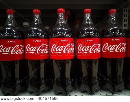 Coca-cola Carbonated Drink In Plastic Bottles On The Shelves Are For Sale In Shopping Centers On 20.