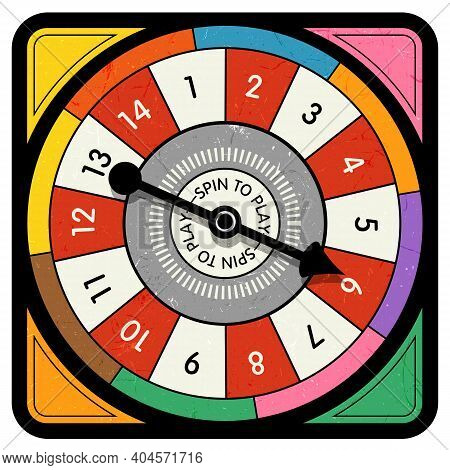 Vintage Style Spinner For Board Game With Spinning Arrow, Numbers, And Letters. Design Elements For
