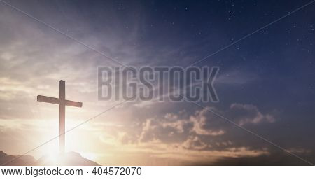 Jesus Christ Crucifix Cross On Heaven Sunrise Concept Christmas Catholic Religion, Forgiving Christi