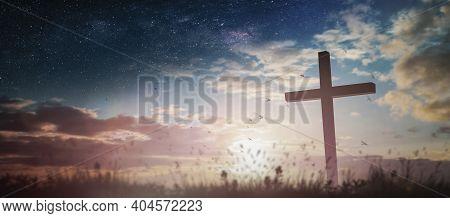 Jesus Christ Crucifix Cross On Heaven Sunrise Concept Christmas Catholic Religion, Forgiving Christi