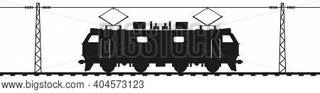 Electric Locomotive On Rails Under The Contact Wire. Railroad Electric Poles With Overhead Lines. Bl