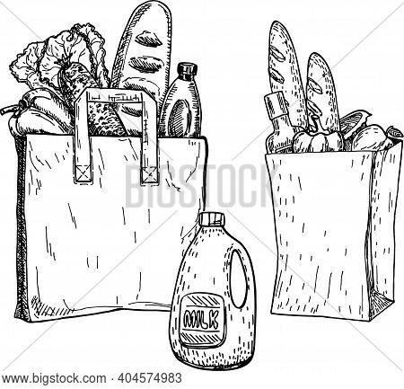 Products In A Grocery Bag And An Eco Grocery Bag. Sketch. Hand Drawn Vector Illustration