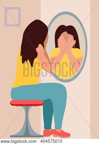 Sad Girl Looks In The Mirror. Flat Vector Cartoon Illustration. Illustration Of A Teenage Girl Looki