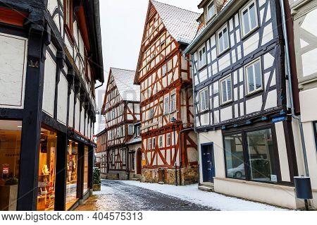 Alsfeld, Germany - January 17, 2021: View Of Houses And Street Of Alsfeld City, Germany. Historic Ci